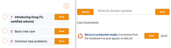 Create an agenda to keep your interview on track and display key interview topics on-screen.