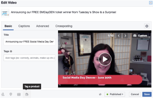After you complete your live interview, go directly into Facebook to edit your video.