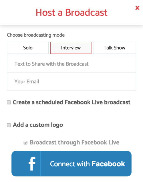 When you set up BeLive for a live interview show, select the Interview broadcasting mode.