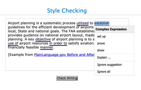Nach Ablauf der Frist wird die Stilprüfung eine Vielzahl von Stilproblemen anzeigen, einschließlich komplexer Ausdrücke und passiver Sprache.