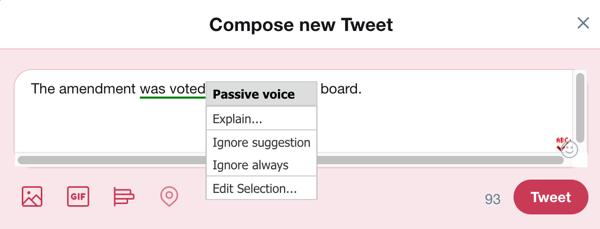 Klicken Sie auf das ABC-Symbol oder verwenden Sie die Tastenkombination, um After the Deadline in einem Textfenster zu aktivieren.
