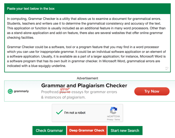 Paste your text into the Grammar Checker text box and click Check Grammar.