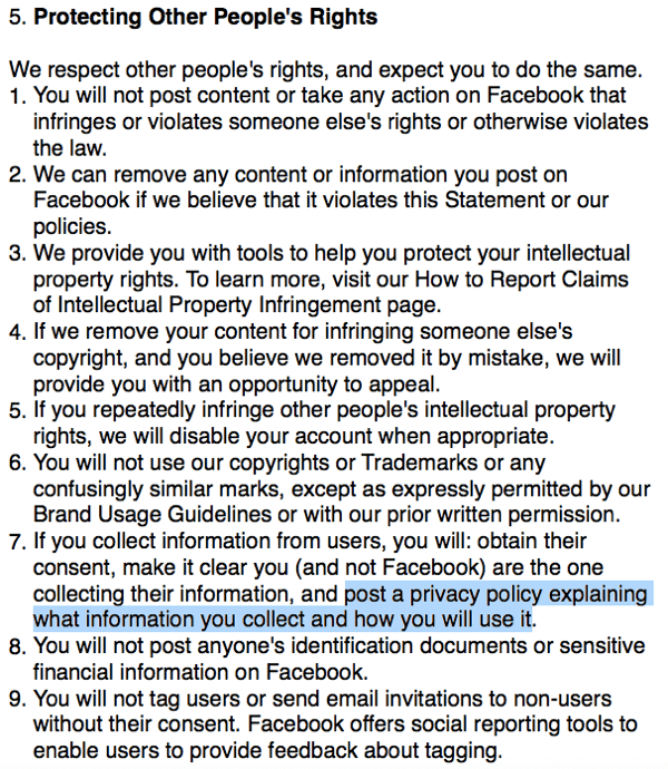 Facebook Terms outlining privacy policy requirement.