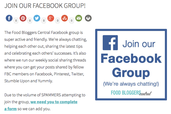 Invite website visitors to join your Facebook group.