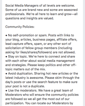 Here's an example of Facebook group rules.