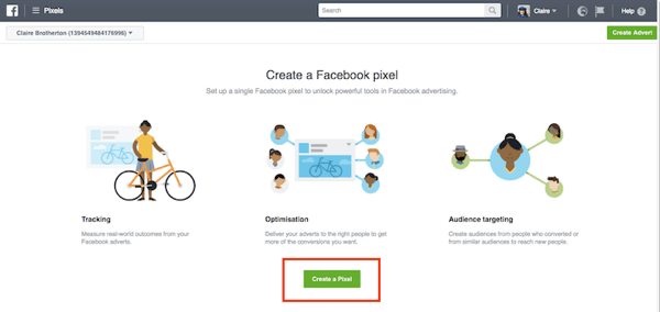 Click the Create a Pixel button to start the process.