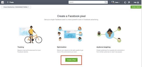 Haga clic en el botón Crear un píxel para iniciar el proceso.