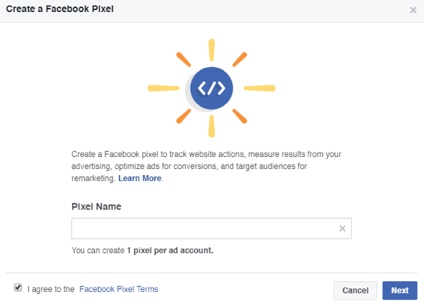 Add a name for your Facebook pixel.