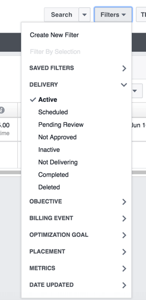 You can filter the ad campaigns on the Account Overview tab so you see only active campaigns or a different timeframe.