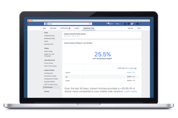 Facebook rolled out a new analytics tool that compares how content published through Facebook's Instant Articles platform perform in comparison to other mobile web equivalents.