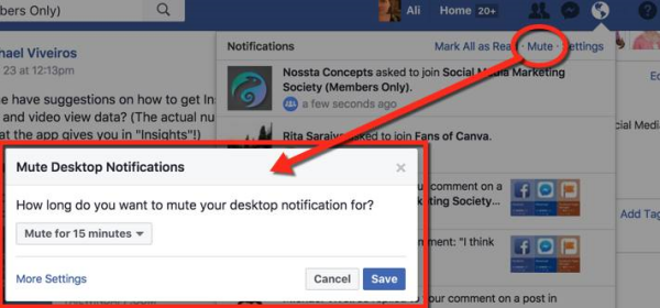 Facebook made it simpler to mute desktop notification with a new.