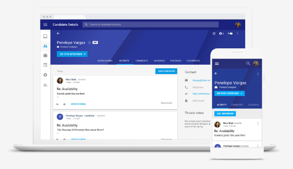 Google Hire makes it easy for you to identify talent, build strong candidate relationships and efficiently manage the interview process end-to-end.