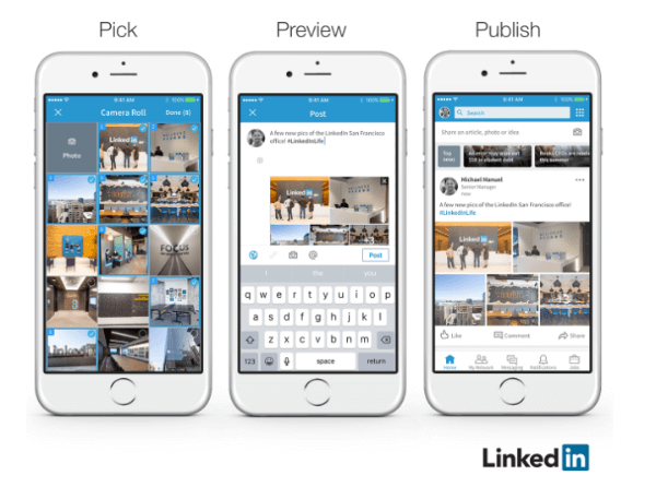 LinkedIn announced that members can now easily add multiple photos to a single post.
