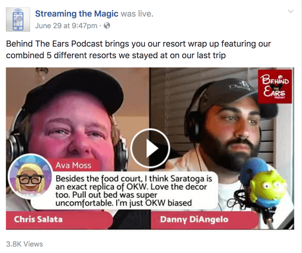The co-hosts of Behind the Ears share a wealth of knowledge on all things Disney on their Facebook Live show.