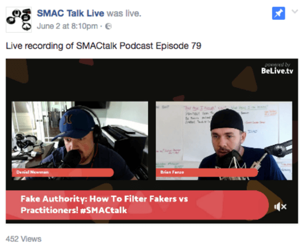 Co-hosts Daniel Newsman and Brian Fanzo have an easy rapport on their live show SMACtalk.