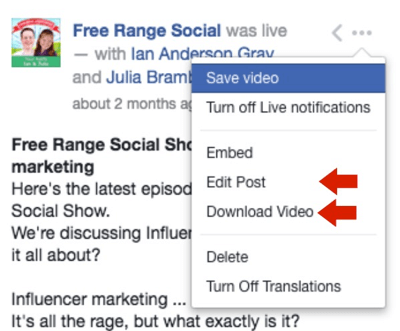 Click the three dots to edit your post text, add captions, and download your Facebook Live video.