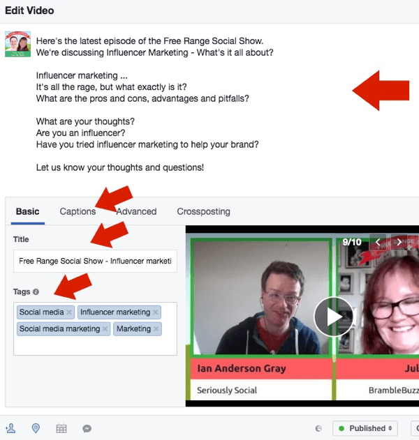 Edit the post text, video title, and video tags for your Facebook Live replay.