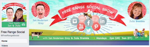 Create a Facebook page cover photo and thumbnail to reflect your live show branding.