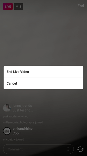 End your live video by confirming the End Live Video option.