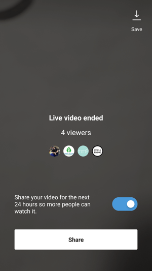 Easily share your live video as a replay to your stories.