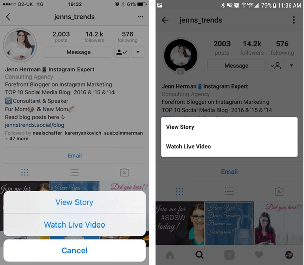 Instagram profile visitors can choose which option to view in your stories if you have both a replay video and story posts.