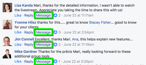 Facebook allows any page admin to reply to comments (or posts) privately via Messenger.
