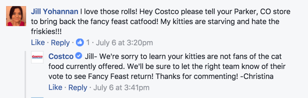 Having moderators sign their Facebook comments with their name helps humanize the conversation.