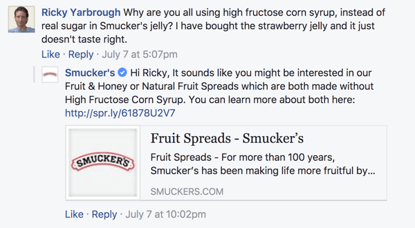 When responding to a customer concern on Facebook, find ways to redirect the conversation in a positive direction.