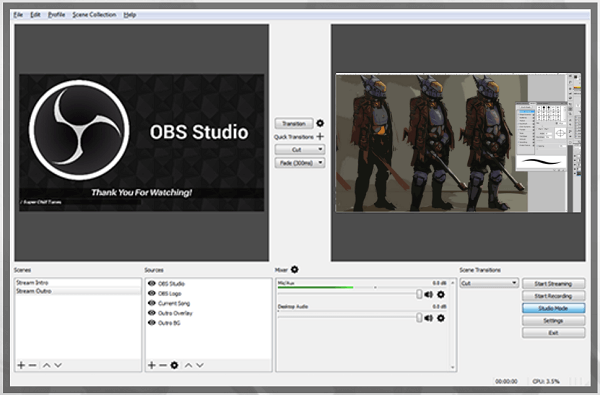 OBS Studios is a good, free live broadcasting option.