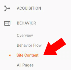 Under Behavior in Google Analytics, choose Site Content > All Pages.