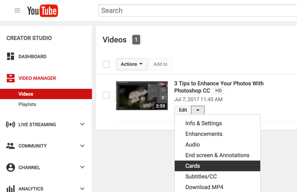 In your YouTube Video Manager, click the down arrow next to Edit and select Cards.