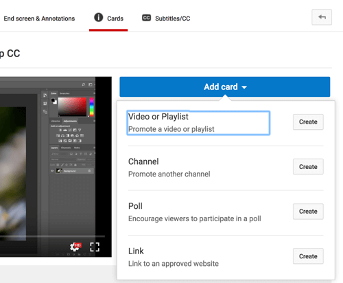 Click Add Card and select the type of card you want to add to your YouTube video.