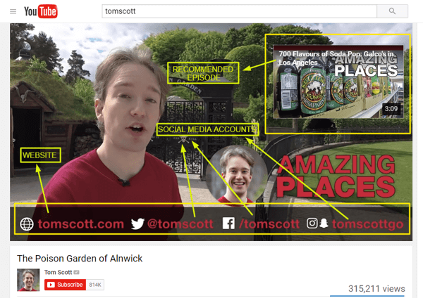 Tom Scott uses his end screen to recommend another of his videos and share his website and social media handles.