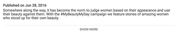 The most important text in your YouTube video description appears before the Show More link.