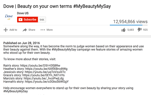 This YouTube video description includes detailed information, links to other videos, and repeats the hashtag.
