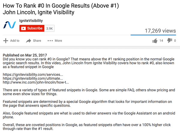 This video description includes a number of different keyword combinations.