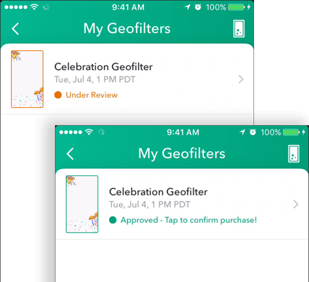 Once your Snapchat geofilter is approved, its status will show as approved on the My Geofilters screen.