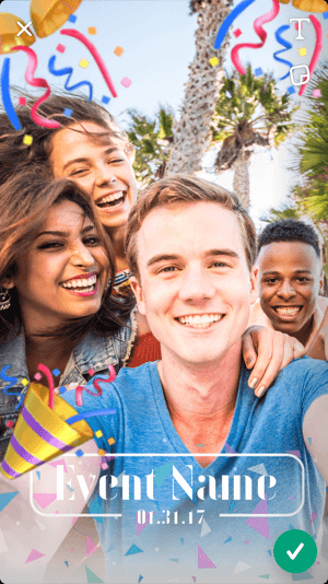 Customize the geofilter template by adding text, emojis, stickers, and more.