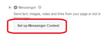 If you chose Messenger as the destination for your ad, click Set Up Messenger Content.