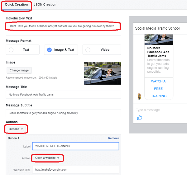 Specify what users will see in the Messenger chat window when they click on your ad.