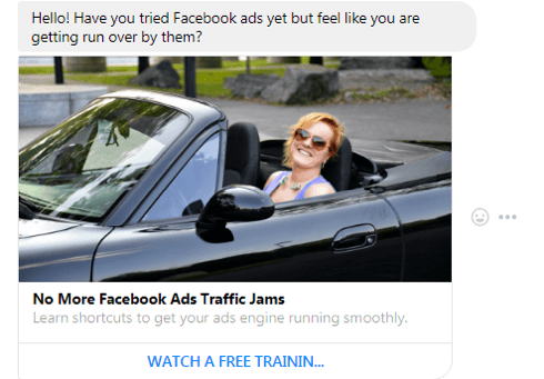 Here's a preview of what the message will look like when users click your ad.
