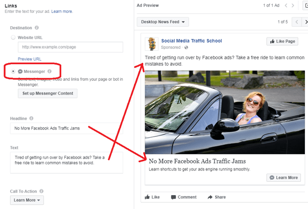 After you choose the destination for your Facebook Messenger ad, fill in the other ad details.