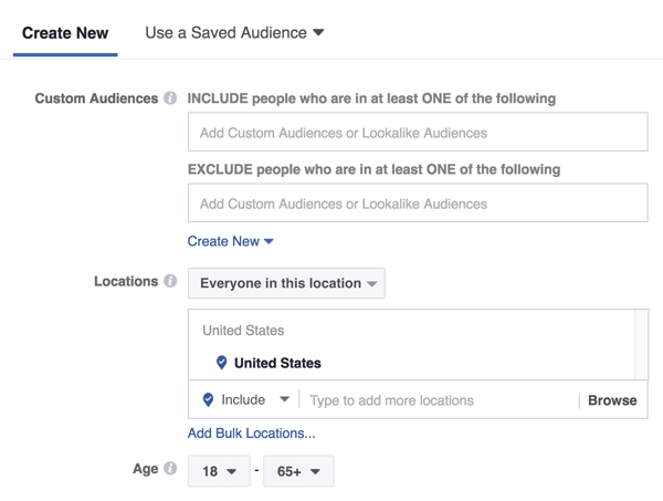 With a Facebook Messenger home screen ad, you can target a new audience or a previously saved or lookalike audience.