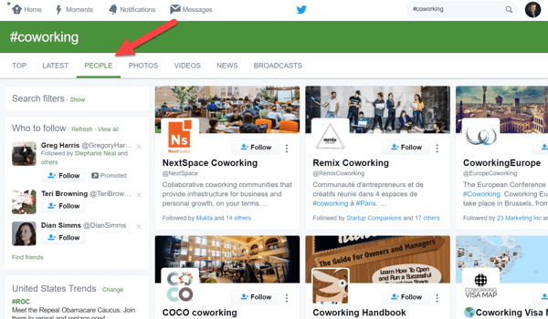 Open the People tab to look for potential influencers in your Twitter search results.