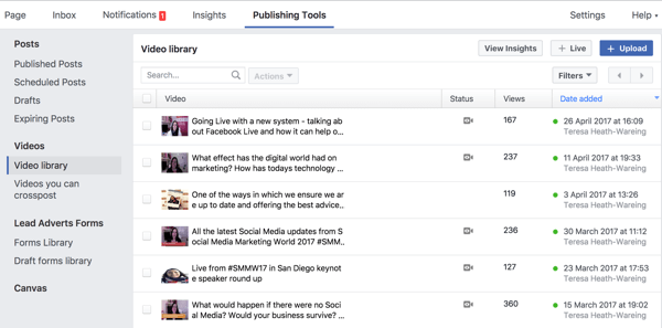 You can access your complete Facebook video library under Publishing Tools.