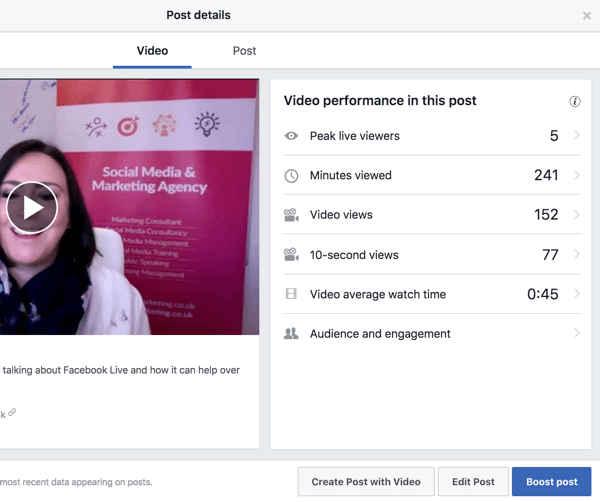 Select a video in your Facebook video library to see performance metrics.