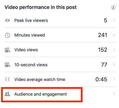 Click Audience and Engagement to see more detailed Facebook video stats.