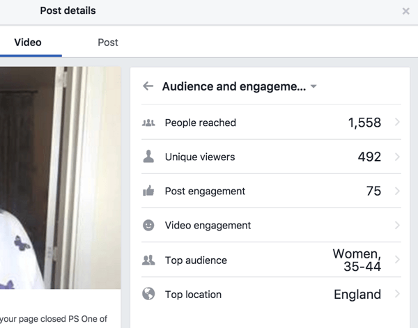 Facebook shows separate engagement stats for the post and video.