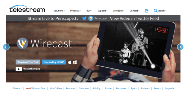 Wirecast lets you broadcast to Facebook Live, Periscope, and YouTube.