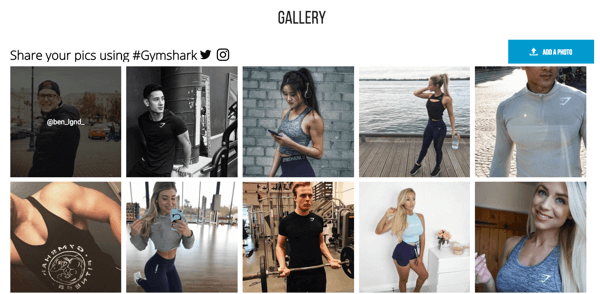 Gymshark mixes their in-house content with UGC both off-site (such as on Facebook and Instagram) as well as on-site to reach new customers through their existing customers' connections.